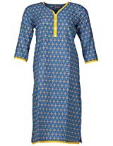 Bunkaari India Women's Cotton Regular Fit Kurti (00LK 5_44, Blue and yellow, 44)