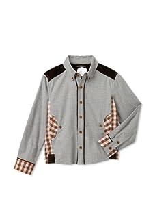 Kicokids Boys Buffalo Check Work Shirt (Pyrite/Amber)
