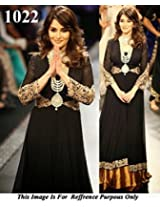 1022- Madhuri Dixit In Designer Black Anarkali Suit Walk At IIJW