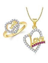 Meenaz Pendant Jewellery Set Combo Gold Plated Cz In American Diamond For Girls & Women Com253 (16.5)