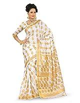 Mimosa Women Kanchipuram Art Silk Saree with Blouse (3011-104-White,  White)