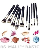 Premium Synthetic Kabuki Makeup Brush Set Cosmetics Foundation Blending Blush Eyeliner Face Powder Brush Makeup Brush Kit 10Pcs - Silver Black