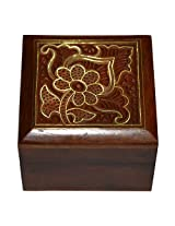 Handmade Gift Jewellery Box Square Shape Wood Carving with Floral Brass Inlay Design