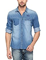 SPYKAR Men Cotton Dk.Blue Casual Shirt (Large)
