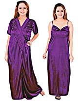 Indiatrendzs Women's Sexy Honeymoon Silk Satain Evening wear Purple 2pc Nighty
