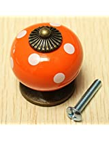 Vintage Dot Round Ceramics Drawer Knob Cabinet Pull Handle Cupboard Door Handle (Orange)