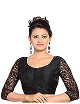 Studio Shringaar Party Royal Black Solid Short Sleeve Non-Padded Blouse