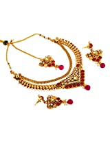 Megh Craft Women One Gram gold Plated rajwada Style Jewellery with Maang Tikaa- New Style Bridal Necklace Set