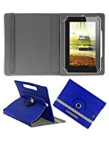 ACM ROTATING 360° LEATHER FLIP CASE FOR HCL ME U3 SYNC 1.0 TABLET STAND COVER HOLDER DARK BLUE