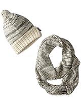 Muk Luks Women's Heritage Marl Eternity Scarf and Pom Hat Set, Vanilla/Dark Grey Heather, One Size