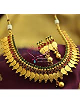 Temple Laxmi Coin Necklace Red Green Kasumala Kasulaperu Traditional Jewellery