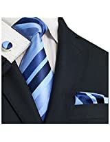 "Landisun Stripes Mens Silk Tie Set: Necktie+Hanky+Cufflinks 199 Blue, 3.25""Wx59""L"