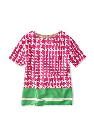 MARNI Women's Printed Silk Top (Pink/Green)