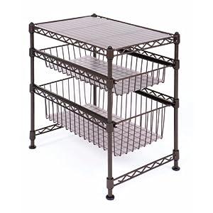 """Seville Classics Double Basket Stackable Cabinet Organizer, 11.5"""" D x 17.5"""" W x 18.5"""" H"""