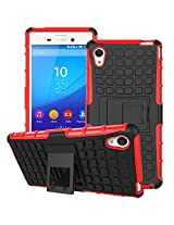 DEFENDER Hard Armor Hybrid Rubber Bumper Flip Stand Rugged Back Case Cover For Sony Xperia M4 Aqua - RED