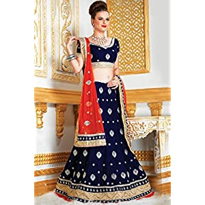 Velvet and Net Lehenga In Blue and Red Colour 1315
