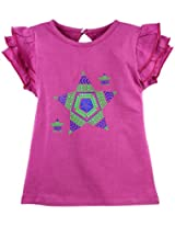 Oye Girls Round Neck Tee With Frill Sleeves - Rose Bud (3-4 Y)