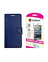 Celson Screen Guard & Flip Cover For Micromax Bolt Q339 Flip Cover Case - Blue Combo