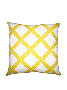 """Lacefield Designs Bamboo 20"""" x 20"""" Pillow, Yellow/White"""