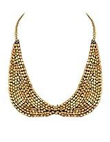 Golden Bib Necklace With Exquisite Beadwork