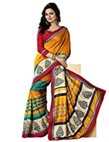 Riti Riwaz Golden Bhagalpuri Silk Casual Saree with Unstitched Blouse NRV6506A