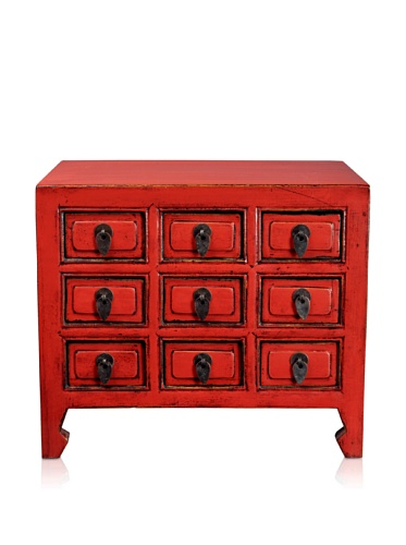 Antique Revival Knick Knack Storage Chest (Red)