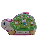 Turtle Design Metal Kiddy Piggy Bank - Green - Coin Box, Money Safe for Kids