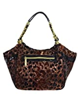 Betsey Johnson Flocled Cheetah Satchel - Gold