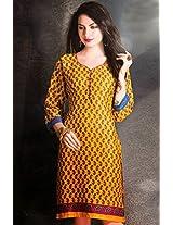 Cotton Jacquard Print Yellow Stitched Frock Style Kurti - 29249 - M