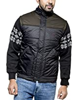 Zovi Polyester Black Quilted Jacket with Knitted Dobby Sleeves(10472106601_X-Large)