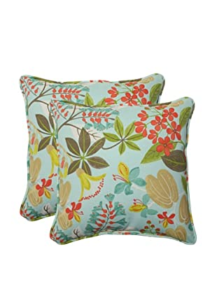 Pillow Perfect Set of 2 Outdoor Fancy a Floral Caribbean Throw Pillows, Blue/Brown