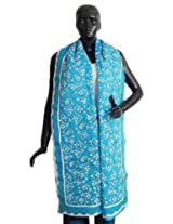 DollsofIndia Cyan Organdy Cotton Chunni with Applique Work and Chain Stitch - Cotton - Blue