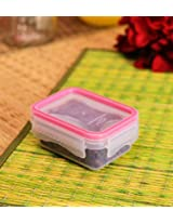 Princeware Click N Seal Rectangular Container with Pink Lid - 190 ml