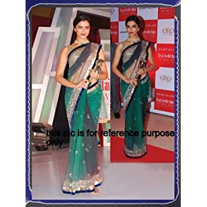 deepika greean Indian Ethnic Designer Bollywood Party Wear Saree Sari Traditional Women Wedding