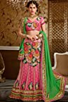 Persian Pink Net and Jacquard Embroidered Lehenga Style Saree