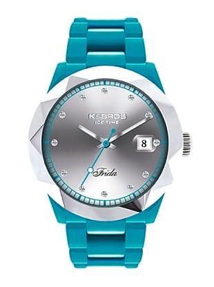 K&BROS 9555-3 / Reloj de Señora con correa de caucho azul claro