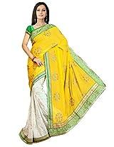 Mahalaxmi Dresses Women's 60 Gm Chiffon Machine Work Half & Half Saree