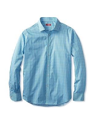 Rufus Men's Button-Up Shirt (Blue Plaid)