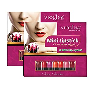 Violina Mini Lipstick 100% Veg - combo pack of 14 lipsticks