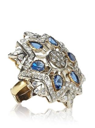 Taara Blue Crystal Adjustable Flower Ring