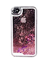 Phoenix Bling Sparkle Glitter Stars Dynamic Liquid Quicksand Clear Hard Case Frame for iPhone 4 4s 4g - Pink