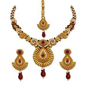 SV JEWELS & PEARLS GOLD PLATED NECKLACE SET SVJP-3168 FOR WOMEN