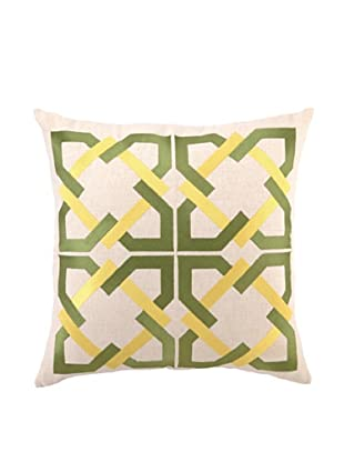 Trina Turk Geometric Tile Embroidered Pillow (Green)