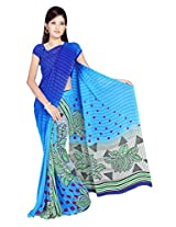 Sonal Trendz Dark Blue & Blue Color Printed Georgette Saree with Blouse