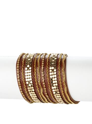 Presh 5-Strand Metal Chain Bracelet, Whiskey