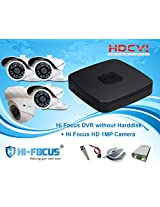 Hi Focus 4 CH 720P HDCVI DVR, 1.0 MP 1 Pc Dome 3Pc Bullet CCTV HDCVI Security Camera System