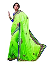sareez Parrot Green Color Jacquard Saree.