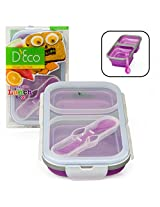 Collapsible Lunch Box- Silicone Kids Food Storage with Two Compartments In Purple By DEco