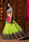 Neon Green Faux Georgette Lehenga Choli with Dupatta