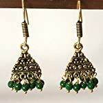 Jhumki Earrings - Gold with Green